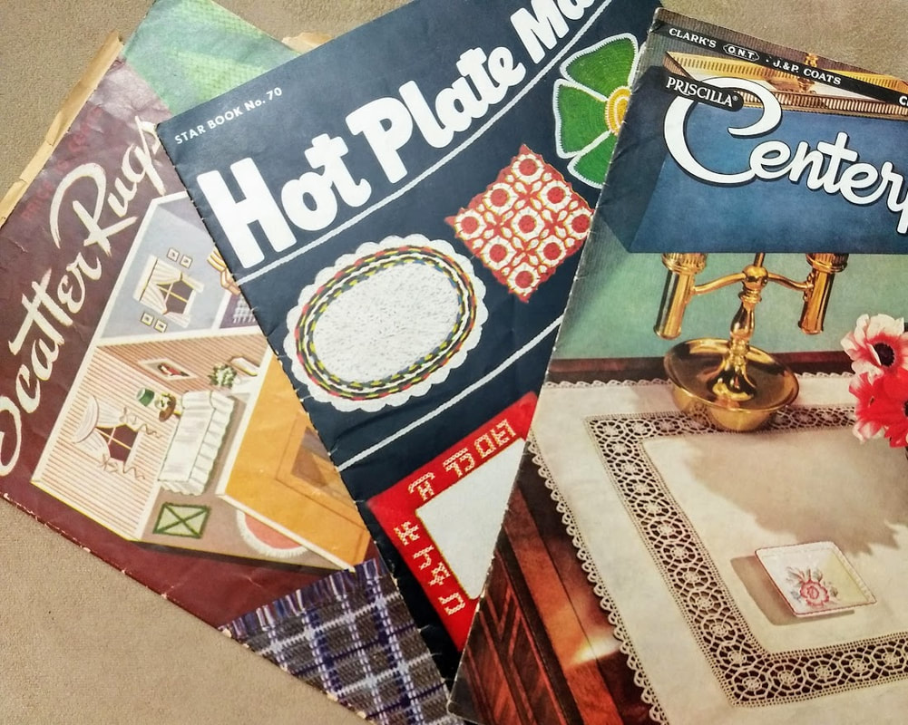 Vintage patterns from 1940 Scatter Rugs, 1950 Hot Plate Mats, 1953 Centerpieces