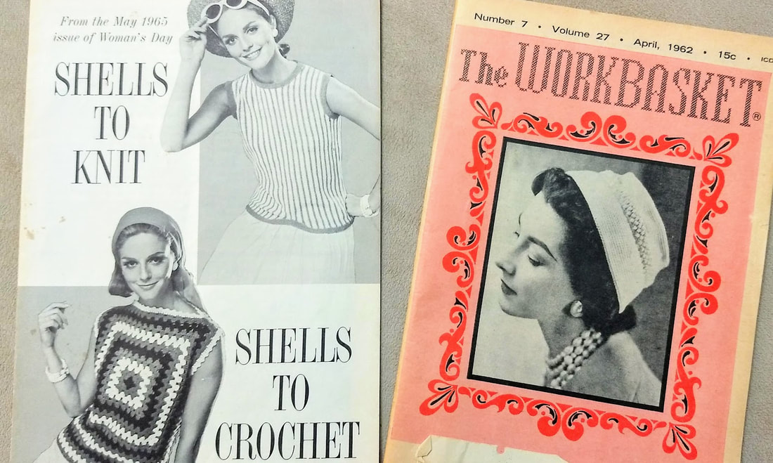 1965 Shells to Knit and Crochet,  April 1962 Workbasket Magazine vintage patterns