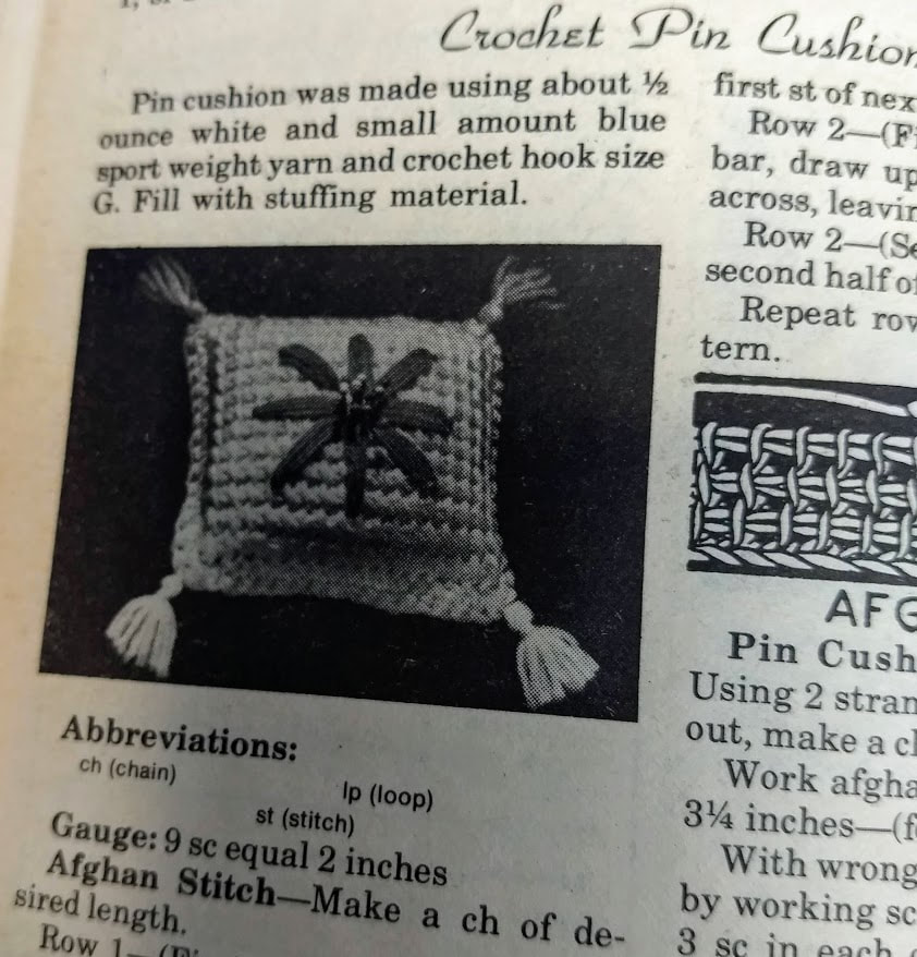 Aug 1974 Workbasket Magazine crochet pin cushion in afghan stitch or tunisian