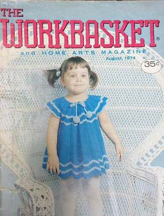 August 1974 Workbasket Magazine cover with a child's crochet dress in blue