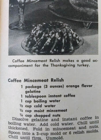 Coffee Mincemeat Relish recipe from November 1967 Workbasket Magazine