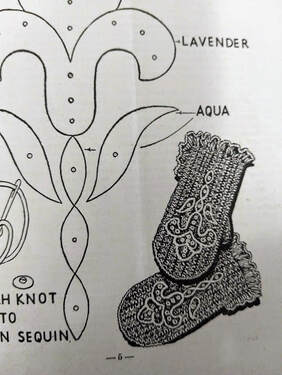 Crocheted mittens with embroidery from January 1947 Workbasket Magazine