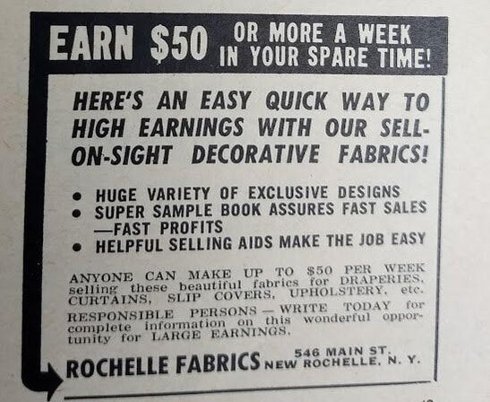 Vintage ad for Rochelle Fabrics