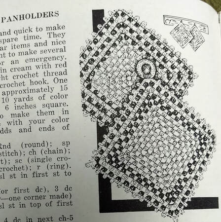 September 1948 Workbasket Magazine Checkerboard Panholder vintage pattern